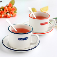250ML new fashion with dish coffee cup letter cup and saucer ceramic cup flower teacup