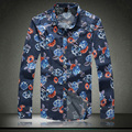 Big Size M-5XL 2015 New Arrival Autumn Spring Floral Dress Shirt Long Sleeve Casual Cotton Slim Fit Men Shirt A3036