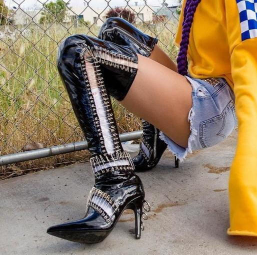 Hot Black Patent Leather Women Metal Pin Boots Sexy Pointy Toe Ladies Cut Out High Heel Boots Punk Style Over The Knee Boots