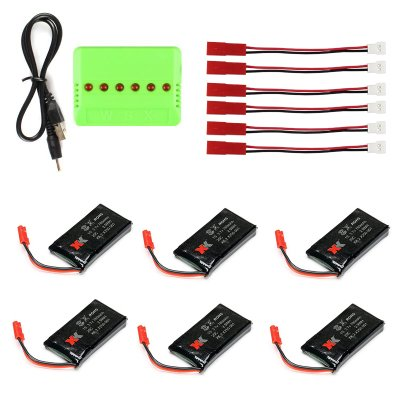 EBOYU(TM) XK X250 RC Quadcopter Spare Parts 3.7V 780mAh 6 X Lipo Battery & 1 X Battery Charger xk x250 quadcopter spare part motor bearing 4pcs
