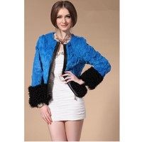 ZY81042 Sexy Women New Arriv Girls And Women Real Rabbit Fur With Sheep Fur Ladies Natural Fur Short Jacket Outwears