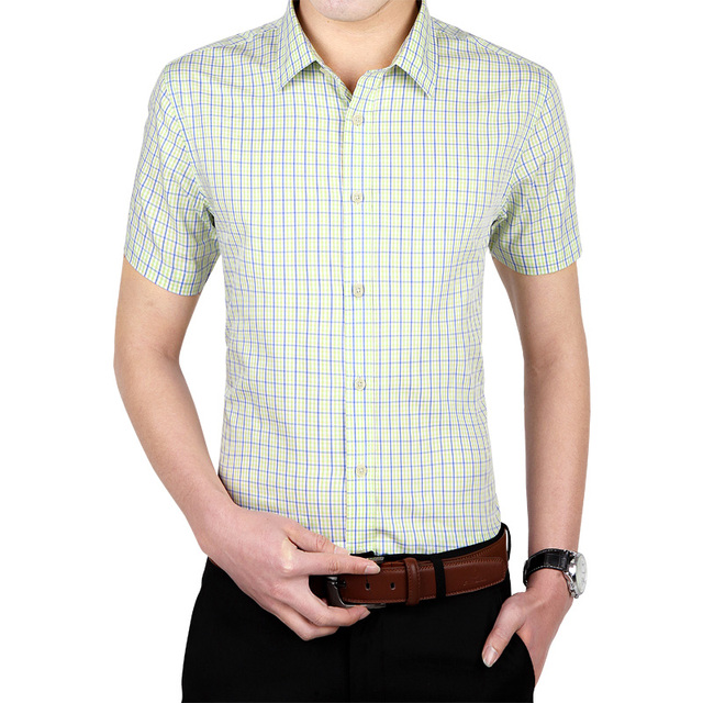 Men's Fashion Short Sleeve Shirt French Cufflinks Banquet Casual Shirt Classic Male Shirt 100% Cotton High Quality Men Clothes