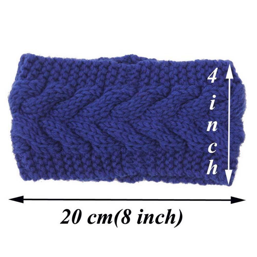 Ancho sólido tejer lana diadema invierno del oído caliente Crochet ...