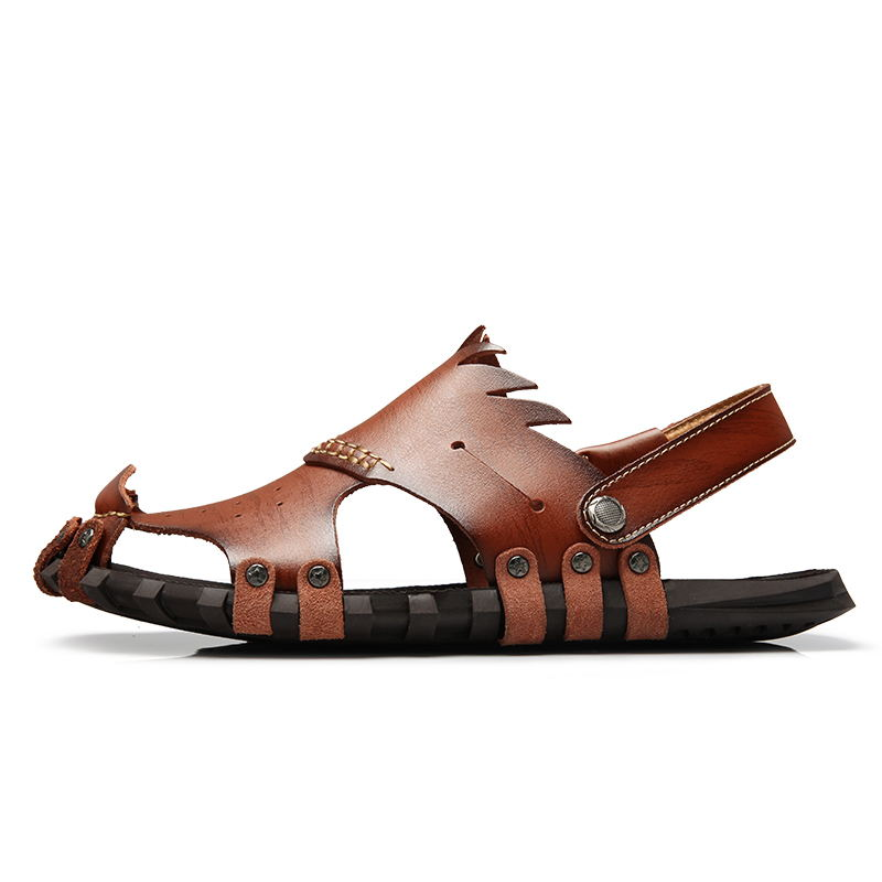 LAISUMK New 2019 Mens Sandals Genuine Leather Cowhide Sandals Outdoor Casual Men Summer Leather Shoes For Men Fashion Shoes Men in Men 39 s Sandals from Shoes