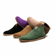 Casual Boots Mens Cow Suede Vintage Leisure Street Boots Lace-up Casual Boots Mens City Shoes Assorted Colors