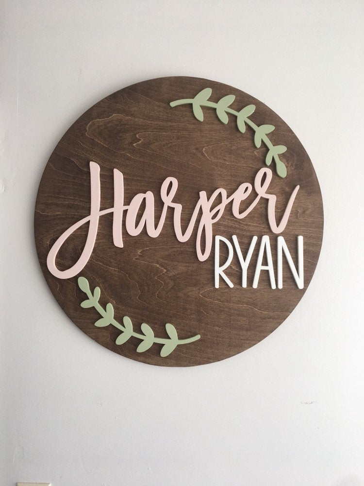 Wooden Baby Shower Sign : wooden, shower, Custom, Round, ,Personalized, Nursery, Sign,Baby, Shower, ,Soon, Gift|Party, Direction, Signs|, AliExpress