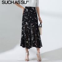 New Chiffon Floral Long Skirts Womens 2019 Summer Black Print High Waist Ruffle Skirt S 3XL Plus Size Slim Asymmetry Skirt