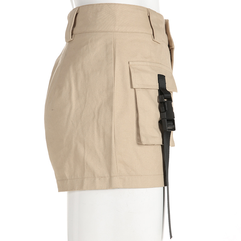 HTB1xoaabtfvK1RjSspfq6zzXFXaP - Spring Summer High Waist Shorts With Buckle Ribbon Khaki Korean Street Style Cotton Short Feminino Cargo Shorts
