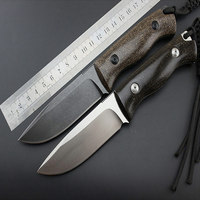 High Quality FOX 58 60HRC D2 Blade Advanced Flax Handle Hunting Fixed Knife Outdoor Camp Survival