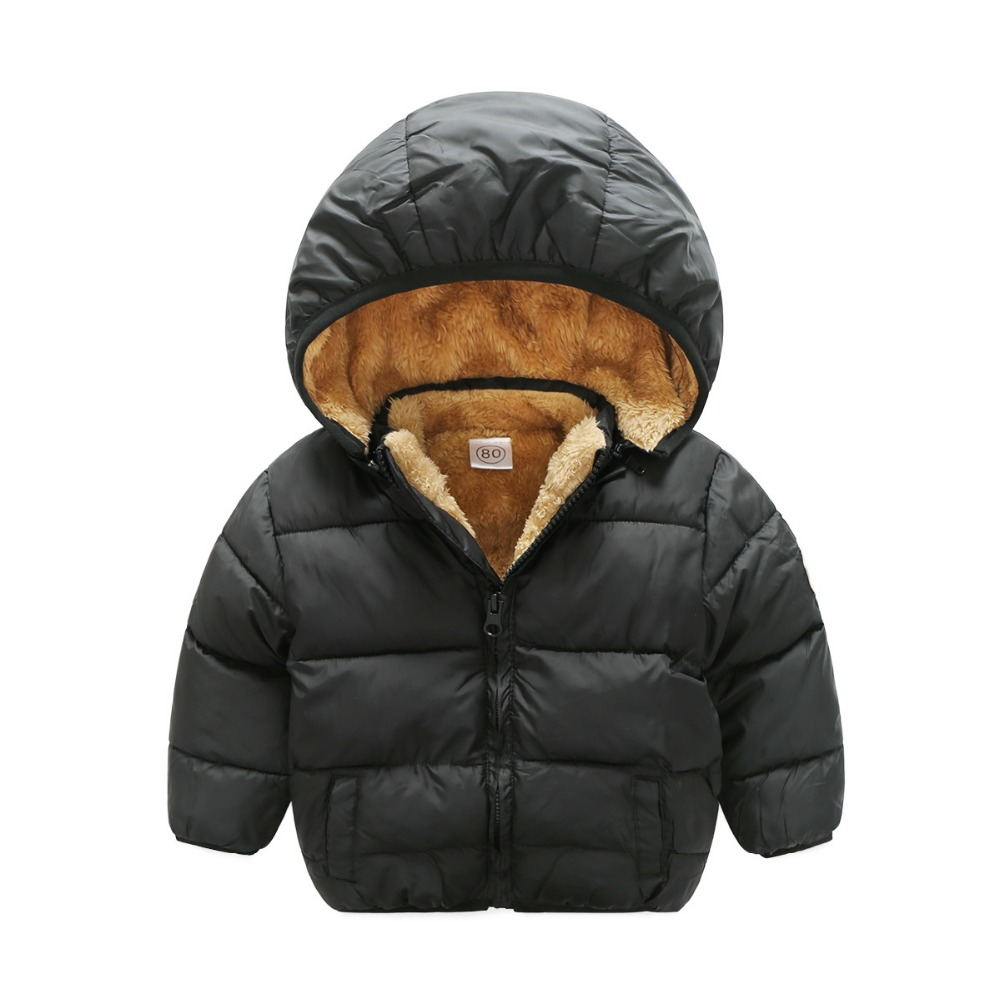 Boys Winter Coat Jackets Velvet Girls Kids Children's Warm Infant Thick Cotton 80-110cm