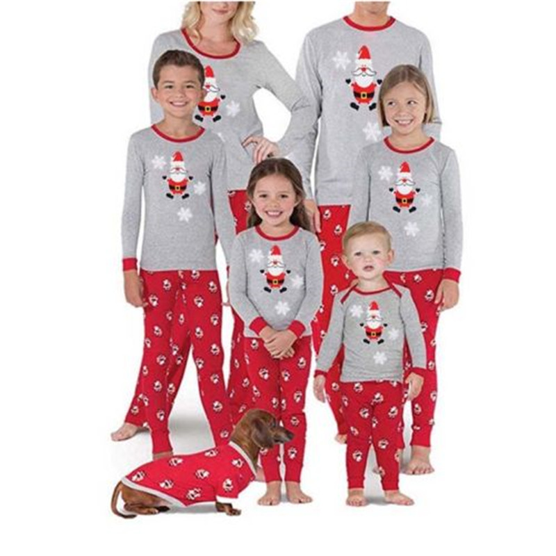 Christmas Family Pajamas Set 2019 Newest Xmas Father And Mother Kids Boys Girl Long Sleeve Soft Sleepwear Family Look Nightwear