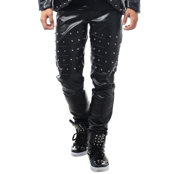 De Rock Etapa Punk Personalidad Pants Pu Pantalones Cuero La Remaches Dance Pantalón Only Pantalon Los Casual Novedad Hombres Homme P5qUH