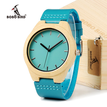 BOBO Woodies de AVES de Alta Calidad Relojes de Los Hombres De Bambú de La Vendimia de Lujo Marca de Relojes de pulsera de Madera de Madera de Cuero Genuino relojes Para Hombres