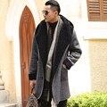 Homens casuais da marca outono longo casaco de Tweed de lã artificial quente 2016 Dos Homens Slim Fit Grosso cardigan homens hoodies casaco longo