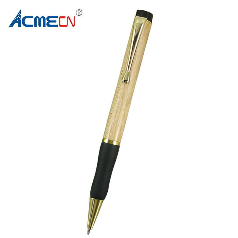 ACMECN Maple & Metal Wood Ballpoint Pen with Soft rubber Grip Retractable Twist Action Gold Trim Wooden Ball Pens Unisex Gifts