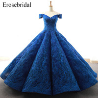 2018 Ball Gown Evening Dress Royal Blue Long Evening Gowns Custom Made Embroidery Lace Elegant Lace Up Back robe de soiree Z6 2