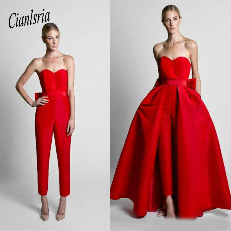 Red Jumpsuits Evening   Dresses   With Detachable Skirt Sweetheart   Prom     Dresses   Custom Made Formal Party   Dress   Pants for Women