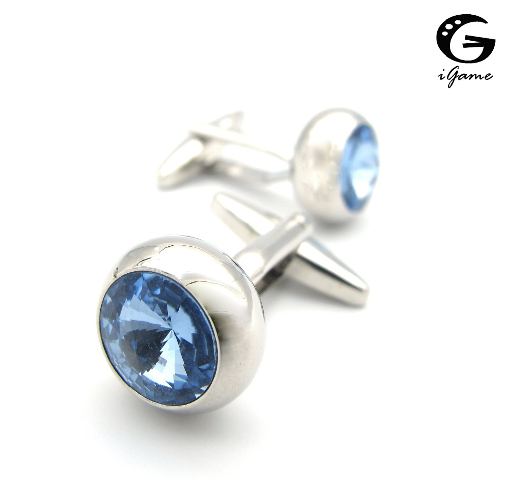 IGame Men's Crystal Cuff Links Silver Color Brass Material Blue Stone Design Shirt Cufflinks Free Shipping