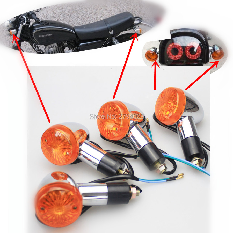 4pcs 10mm blot size universal chrome bullet amber turn signals light for suzuki cruisers boulevard intruder c50 c90 m90 m109r