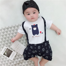 Retail 1 piece child cotton rompers for new child infants boy's garments brief sleeve summer time jumpsuit bebe roupas bodykit beautiful bear