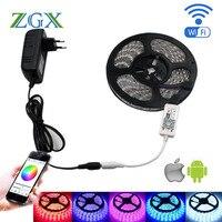 ZGX 5050 Striscia di RGB LED Controller Wifi 60led/m 5 M UK AU lampada della luce al neon Impermeabile Flessibile Nastro diodo ribbon DC 12 V adattatore set