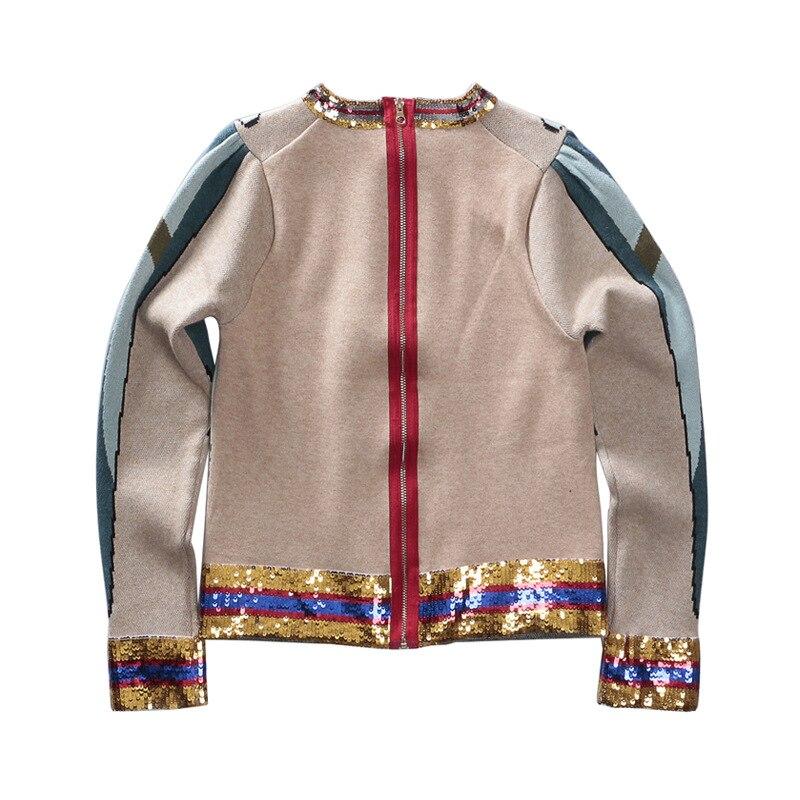 Automne Tops Piste Broderie Tricoté Paillettes Chandail Femmes Sleeeve Vêtements Hiver Luxe Perroquet De Jumper 2018 Lady Longue Rayé SqnTdfwS