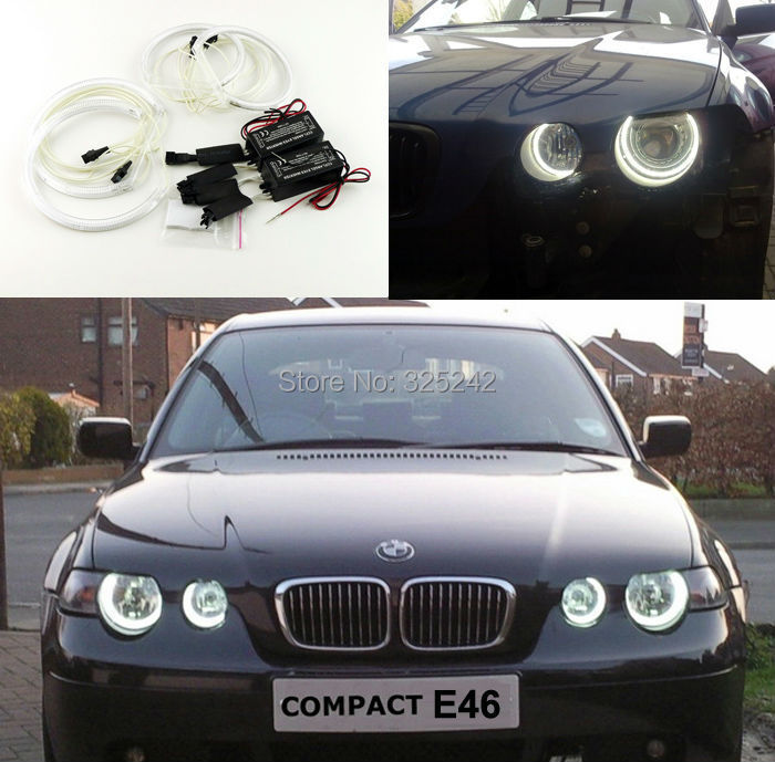 ФОТО For BMW E46 3 Series Compact 2001-2004 Excellent angel eyes Ultrabright headlight illumination CCFL Angel Eyes kit Halo Ring