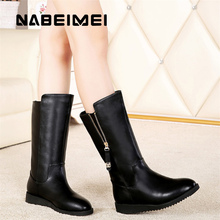 Plus size 35-41 solid black boots women mid calf boots 2017 superstar plush zipper high top winter boots ladies shoes