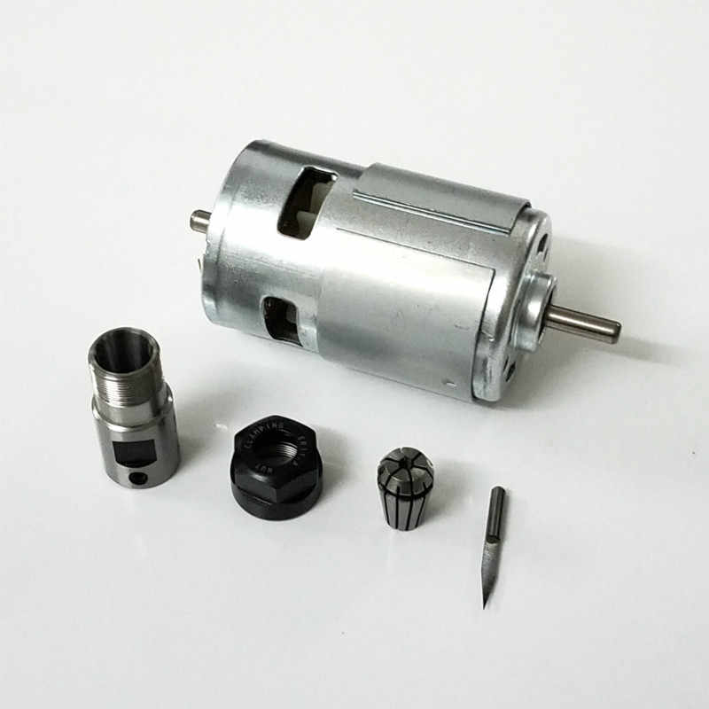 "775 DC מנוע עם ER11 הארכת מוט גילוף סכין 12-36V 4000-12000 סל""ד חריטת מכונה כדור נושאת ציר מנוע CNC"