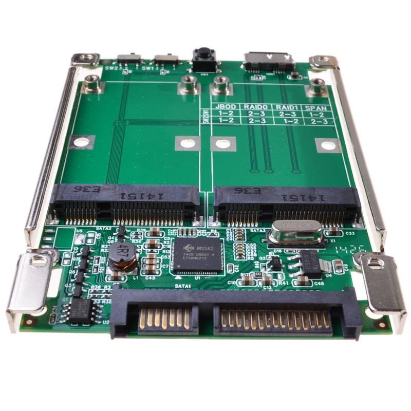 2.5 SATA III to dual mini SATA USB 3.0 to 2 mSATA SSD Raid controller card Converter with cable (2)