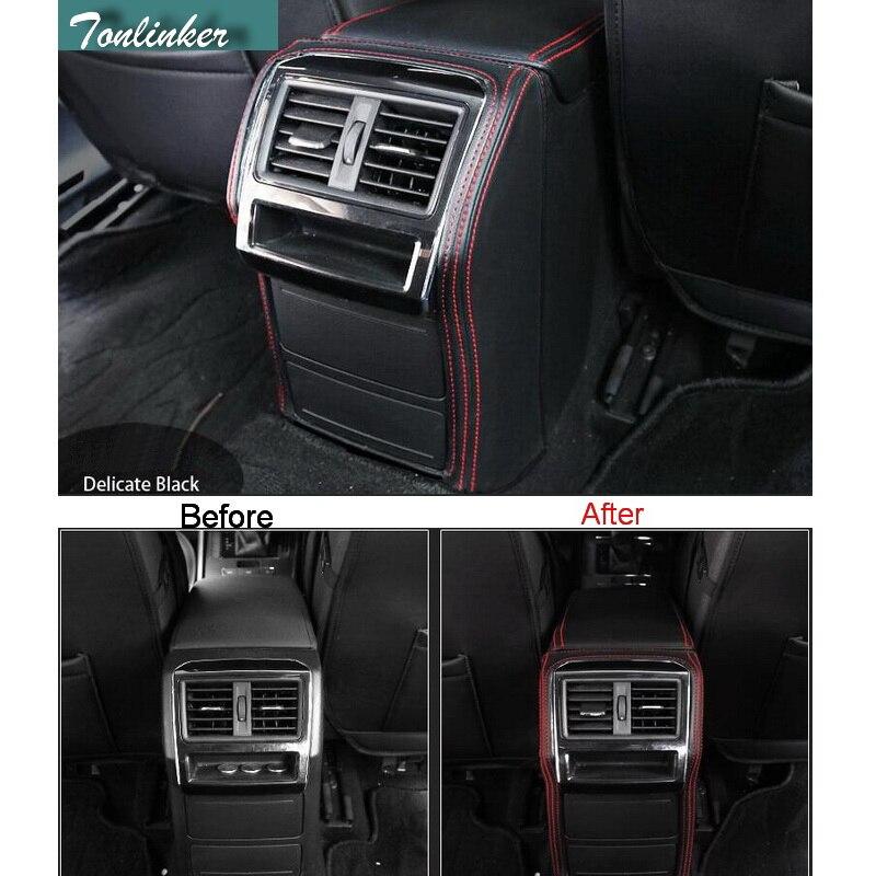 Tonlinker 1 pcs DIY New pu leather car styling center armrest back Protective Holster Cover Case For vw SKODA Superb 2015-16