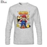 Long Sleeve Custom Super Mario Bros Tees Shirt Men Man Funny His And Hers Backing Tshirt