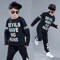 Kids Adults spring summer children's clothing set Red Black Costumes Hip Hop dance Pants & Reflective T shirt kids suits twinset