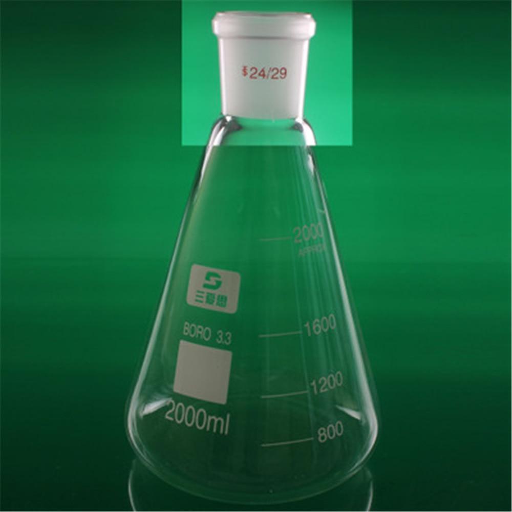 2000ml 24/29 High Borosilicate 3.3 Glass Erlenmeyer Flask ,Conical Vessel Laboratory Glassware supplies цена и фото