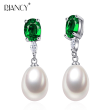 RIANCY new Fashion  natural black pearl earrings freshwater 925 sterling silver pearl jewelry for women wedding beautiful 925 sterling silver earrings women wedding cultured natural freshwater black pearl earrings