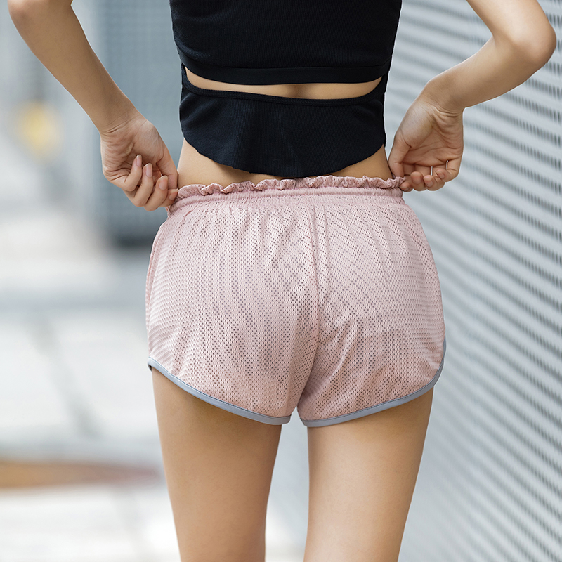 Colorvalue Quick Dry Double Layer Running Shorts Women Low Waist Fitness Jogger Shorts Breathable Mesh Sport Workout Shorts