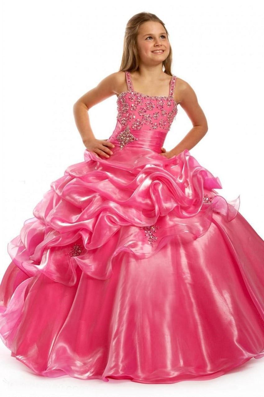 2016 Ball Gown Chiffon Square Collar Flower Girls Dresses Sleeveless Spaghetti Straps Wedding Party Dress Beads Sashes For Girls