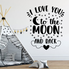 I Love You To The Moon And Back Cartoon Quote Decals Vinyl Home Decor For Kids Room Nursery Wall Sticker Star Wallpaper BO49