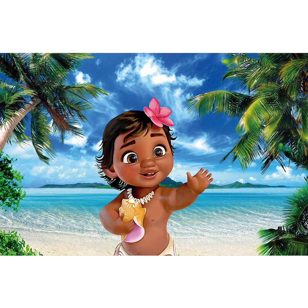 Party Island Beach: Baby Moana Themed Birthday Party Photo Booth Backdrop Blue