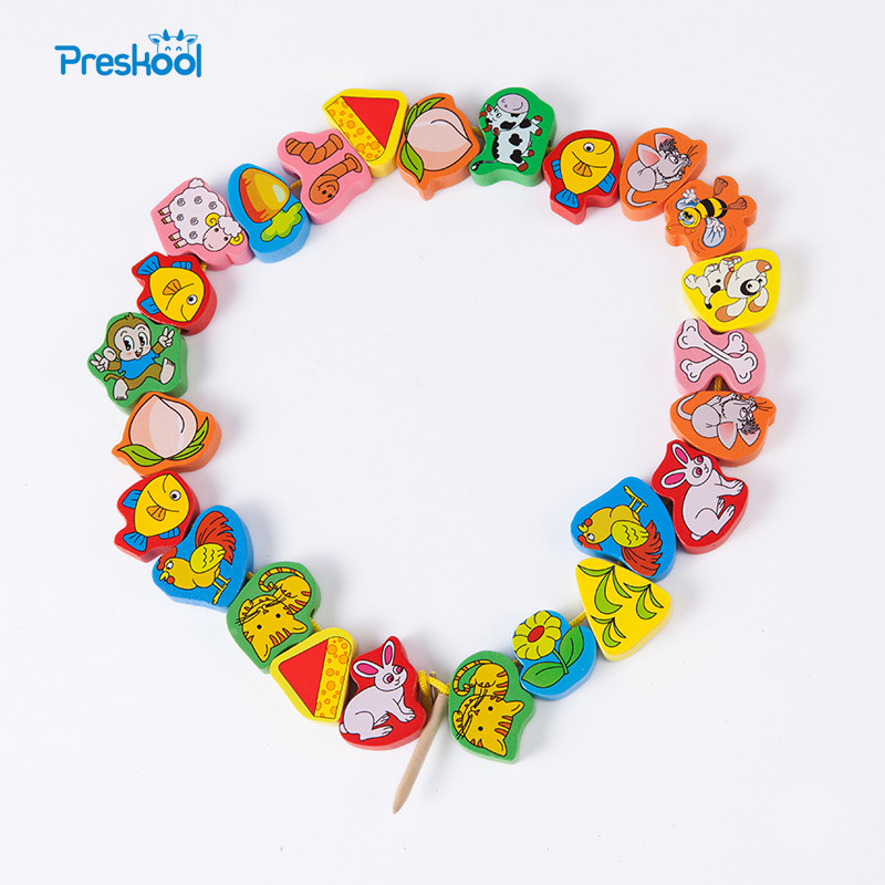 Montessori Kids Toy Baby Colorful Wooden Lacing Beads Stings Learning Educational Preschool Training Brinquedos Juguets kids children wooden block toy gift wooden colorful tree marble ball run track game children educational learning preschool toy