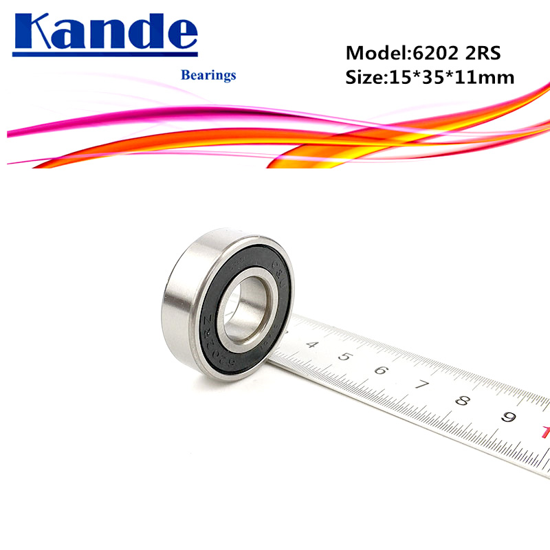 Kande <font><b>6202RS</b></font> 4PCS ABEC-5 6202 2RS Single Row Deep Groove Ball Bearing 15x35x11 mm 6202RZ Suitable for agricultural machines image