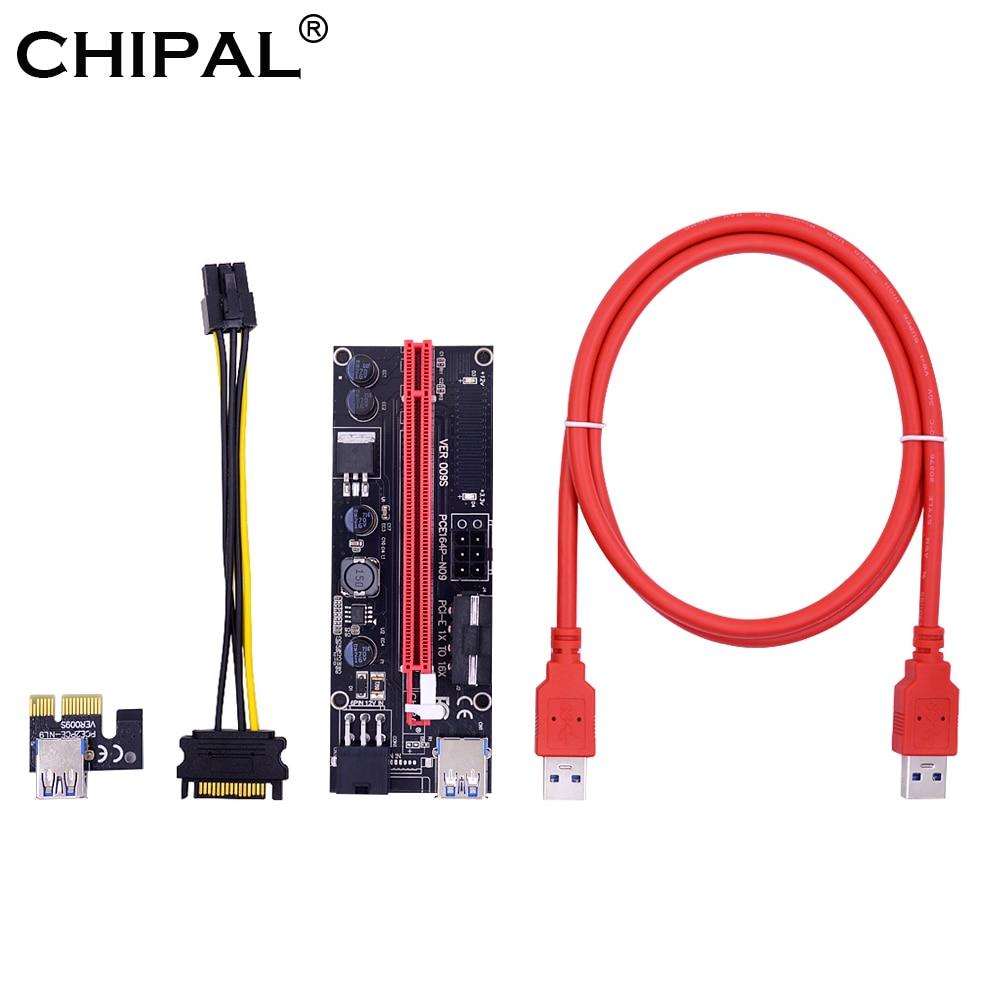 Chipal 1m ver009s pci-e riser cartão 009 pcie 1x 16x led indicador 0.6m usb 3.0 cabo 2 * 6pin 4pin power para btc ltc mineração