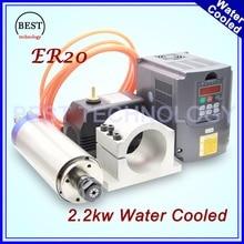 2.2kw С Водяным Охлаждением ЧПУ Шпинделя Двигателя ER20 4 подшипник и 2.2kw VFD/инвертор и 80 мм Шпинделя Зажим/Кронштейн и 75 Вт водяного насоса 220 В