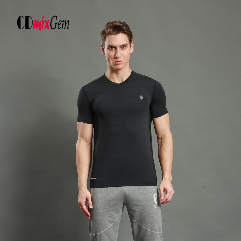 Men sport fitness bodybuilding T-Shirts Gym V collar short sleeved lycra compression tights running basketball under tee tops LX