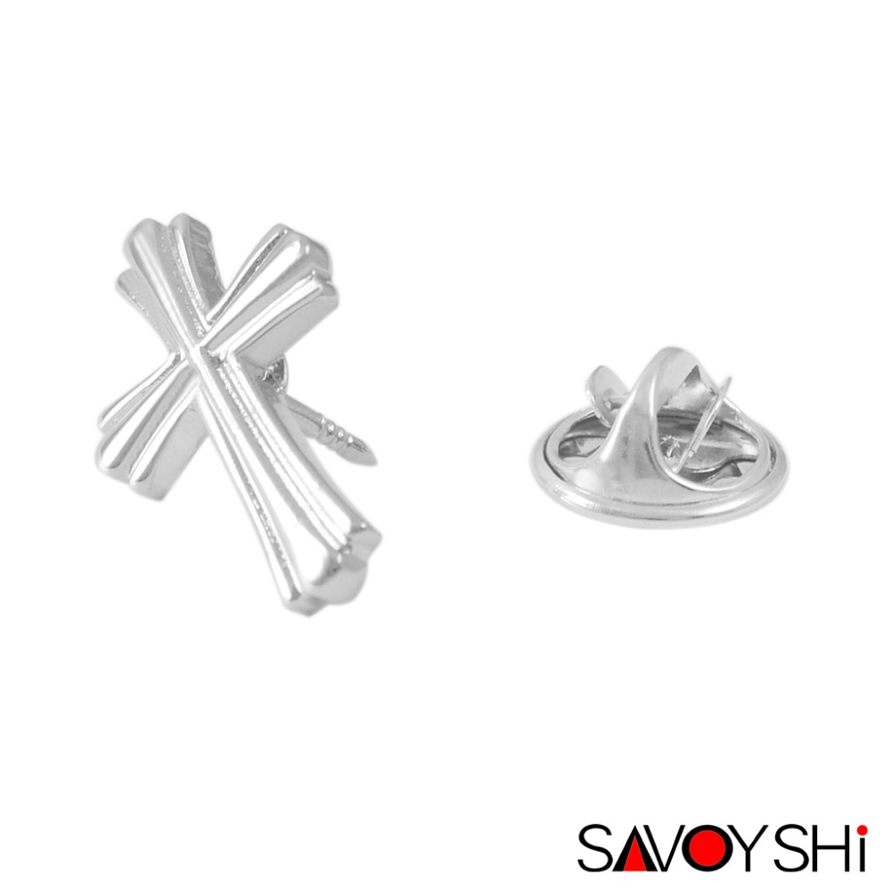 SAVOYSHI Classic Cross Design Silver Men Lapel Pin Brooches Pins Fine Gift for Men Brooches Collar Party Engagement Jewelry