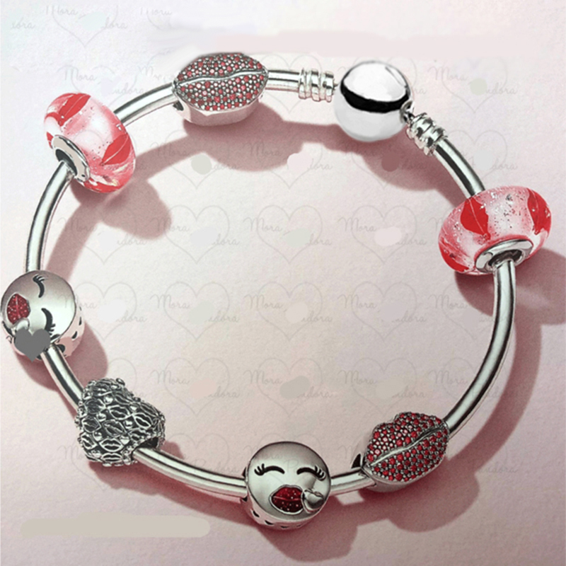 NEW 2018 Valentines Day Newest 925 Sterling Silver Bangle Red Heart shaped Charm Bead for Women Fashion Bracelet JewelryNEW 2018 Valentines Day Newest 925 Sterling Silver Bangle Red Heart shaped Charm Bead for Women Fashion Bracelet Jewelry