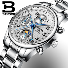 Switzerland BINGER watches men luxury brand Multiple functions Moon Phase sapphire