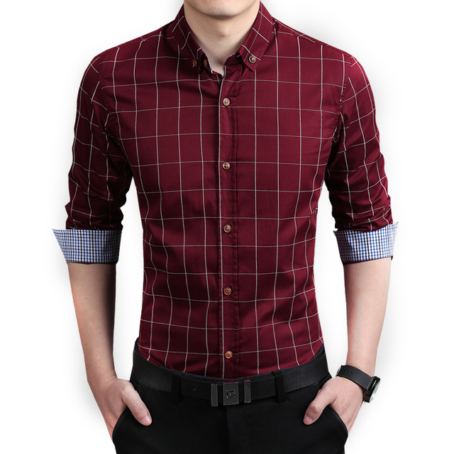 Hot Sale New Clothing Clothes Uomo Men's Blouse Shirt Camisas Cotton Slim Lattice Printing 7 Color Plaid Business 4XL 5XL A50