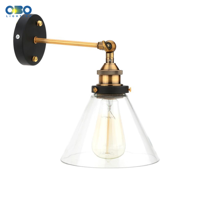 Retro Glass Wall Lamp  Loft Vintage Metal Triangle Oval Clear Wall Light Edison  40W  Industrial Wall Sconce