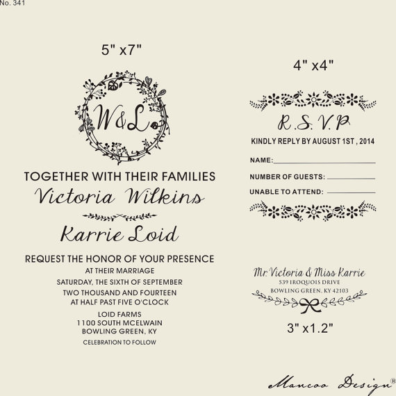 Floral Rahmen Stempel, Hochzeitseinladung Stempel SET Mit Einladung RSVP  Hochzeit Adresse Kranz U0026